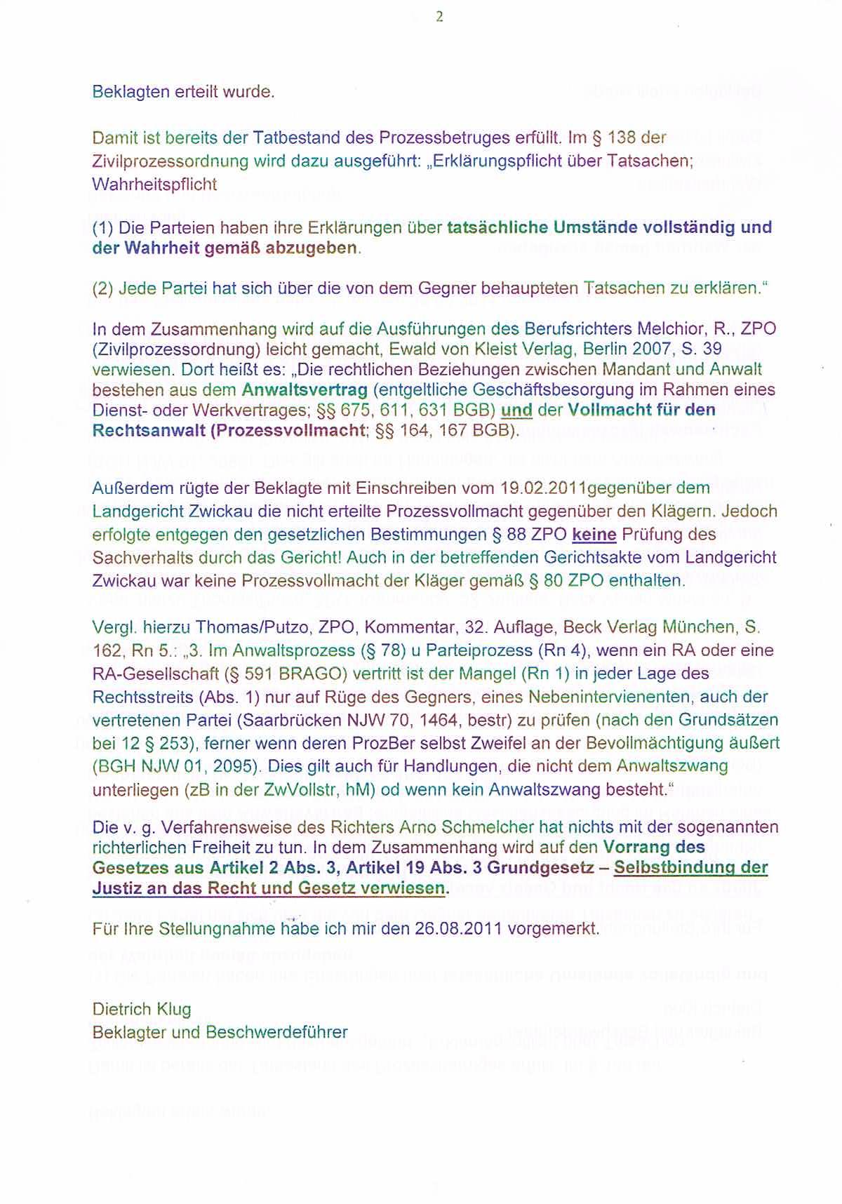 Schreiben an den Direktor vom Amtsgericht Plauen S. 1